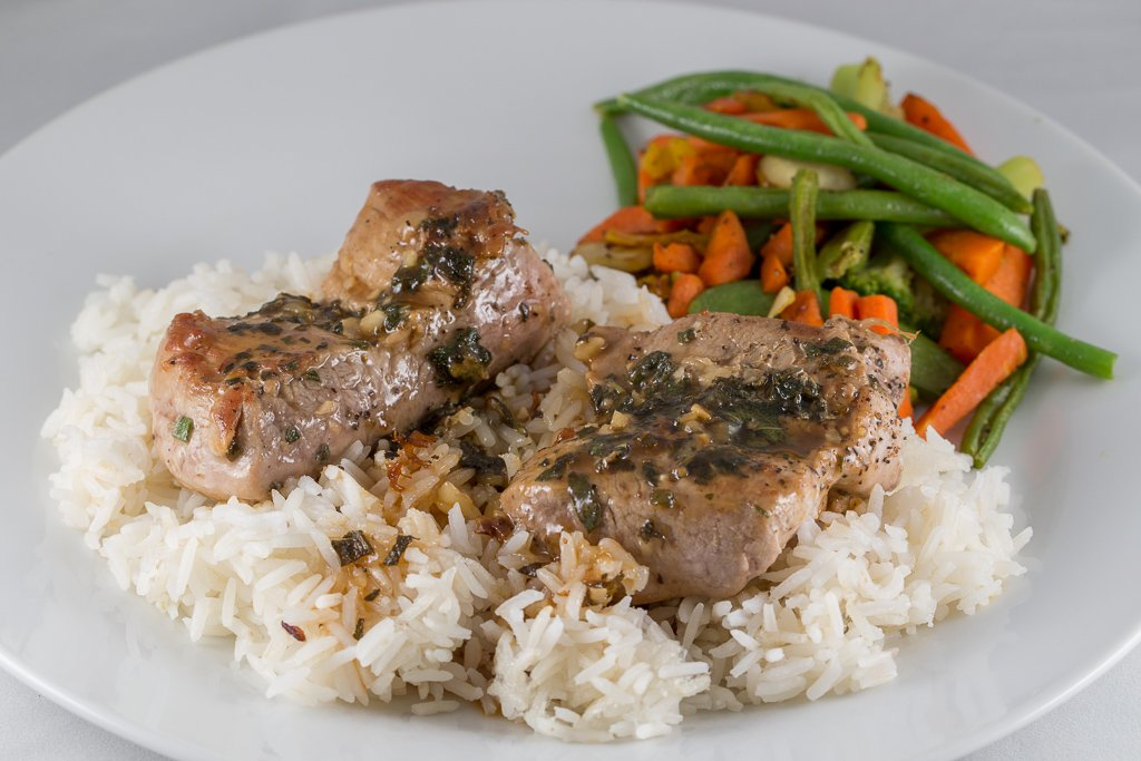 Pork Fillets with Cider Sauce and Jasmine Rice - 1DX