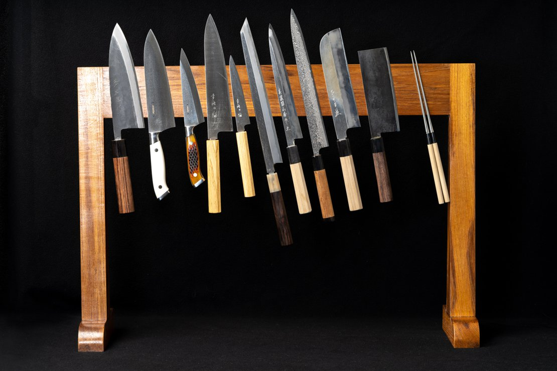 Large Teak Magnetic Knife Stand - Loaded